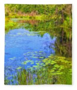 Blue Pond And Water Lilies Fleece Blanket