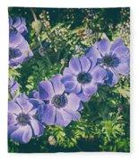 Blue Poppies Blooms Fleece Blanket