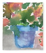 Blue Pot Of Flowers Fleece Blanket