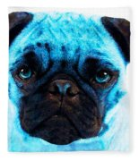 Blue - Pug Pop Art By Sharon Cummings Fleece Blanket