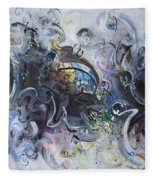 Blue Purple Abstract Movement Art Fleece Blanket