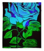 Blue Rose In The Rain Fleece Blanket