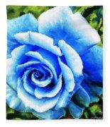 Blue Rose With Brushstrokes Fleece Blanket