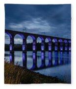 Blue Royal Border Bridge Fleece Blanket