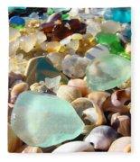 Blue Seaglass Beach Art Prints Shells Agates Fleece Blanket
