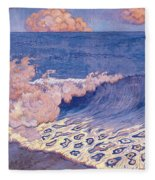 Blue Seascape Wave Effect Fleece Blanket