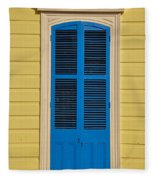 Blue Shutter Door - New Orleans Fleece Blanket