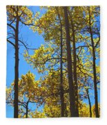 Blue Skies And Golden Aspen Trees Fleece Blanket