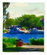 Blue Skies Boats And Bikes Montreal Summer Scene The Lachine Canal Seascape Art Carole Spandau Fleece Blanket