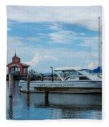 Blue Skies Over Seneca Lake Marina Fleece Blanket