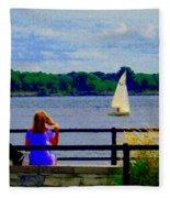 Blue Skies White Sails Drifting Blonde Girl And Collie Watch River Run Lachine Scenes Carole Spandau Fleece Blanket