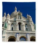 Blue Sky Over Sacre Coeur Basilica Fleece Blanket