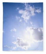 Blue Sky With Sun And Clouds Fleece Blanket