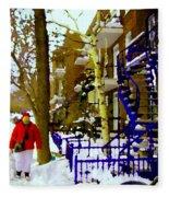 Blue Snowy Staircase And Birch Tree Montreal Winter City Scene Quebec Artist Carole Spandau Fleece Blanket