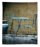 Blue Table And Chairs Fleece Blanket