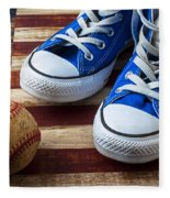 Blue Tennis Shoes And Baseball Fleece Blanket