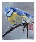 Blue Tit And Blossoms Fleece Blanket