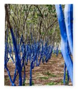 Blue Trees In Nature Fleece Blanket