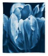Blue Tulip Flowers Fleece Blanket
