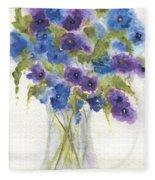 Blue Violet Flower Vase Fleece Blanket