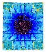 Blue Wallflower Abstract Fleece Blanket