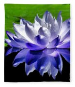 Blue Water Lily Reflection Fleece Blanket