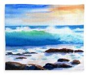 Blue Water Wave Crashing On Rocks Fleece Blanket