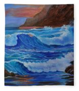 Blue Waves Hawaii Fleece Blanket