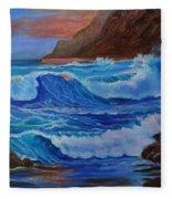 Blue Waves Hawaii Fleece Blanket