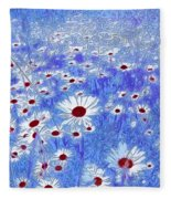 Blue With White Daisies Fleece Blanket
