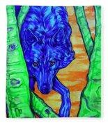Blue Wolf Fleece Blanket