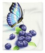 Blueberries And Butterfly Fleece Blanket