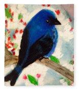 Bluebird Amid Apple Blossoms Fleece Blanket