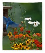 Bluebird And Colorful Flowers Fleece Blanket