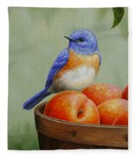 Bluebird And Peaches Greeting Card 3 Fleece Blanket