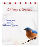 Bluebird Christmas Card Fleece Blanket