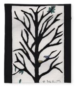 Bluebird In A Pear Tree Fleece Blanket