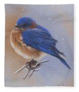 Bluebird In The Snow Fleece Blanket