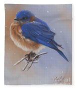 Bluebird In The Snow Fleece Blanket