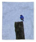 Bluebird On A Fencepost Fleece Blanket