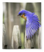 Bluebird On The Fence Fleece Blanket