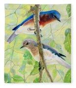 Bluebird Pair Fleece Blanket