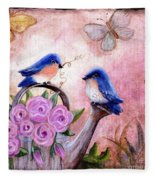 Bluebirds And Butterflies Fleece Blanket