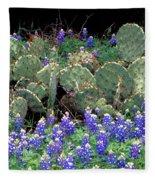 Bluebonnets And Cacti Fleece Blanket