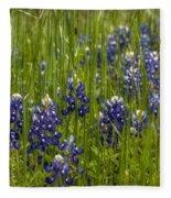 Bluebonnets In The Grass Fleece Blanket