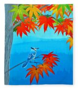Bluejay In The Fall Fleece Blanket