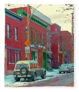 Blues And Brick Houses Winter Street Suburban Scenes The Point Sud Ouest Montreal Art Carole Spandau Fleece Blanket