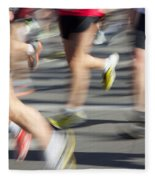 Blurred Marathon Runners Fleece Blanket