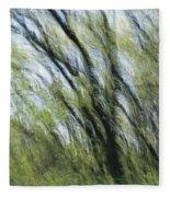 Blurred Trees Fleece Blanket