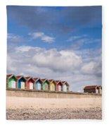 Blyth Beach Huts Fleece Blanket